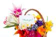bouquet of flowers in a basket