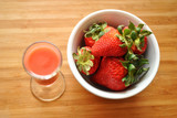 Juice and a Bowl of Strawberries