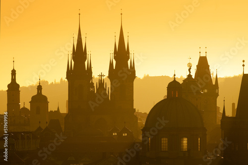 Tuinposter Praag prague - spires of the old town