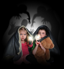 Scared Children Looking at Night Shadows