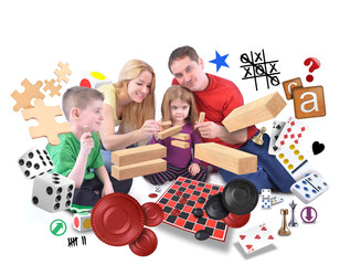 Happy Family Playing Games Together on White