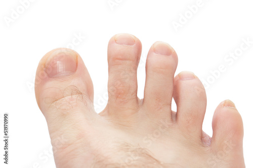 toes on a white background. macro