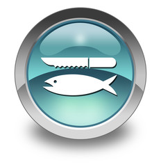 "Light Blue Glossy Pictogram ""Fish Cleaning"""