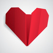 Big red origami heart