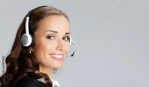 Support phone operator, over gray
