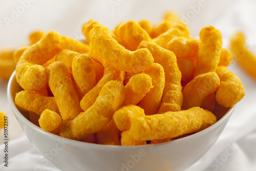 Unhealthy Orange Puffy Cheese Crisps