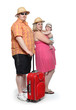 Happy obese family going to vacations.