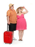 Happy obese couple going to vacations.