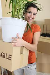 Female settling at home