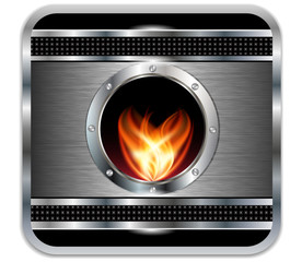 Metal background with vector  fire.Vector