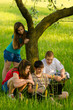 Teenagers having fun in the nature on sunny spring day