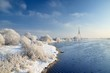 winter landscape. Daugava river and TV tower