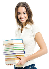 Young smiling woman with textbooks, isolated