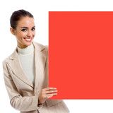 Businesswoman with red signboard, on white