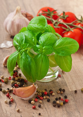 basil leaves, garlic and pepper on a wooden background