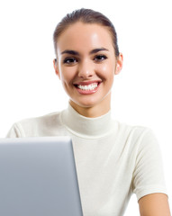 Businesswoman with laptop, isolated