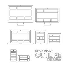Computer tablet laptop phone outline responsive vector eps10