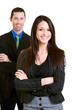 Happy confident young businesswoman with male colleague