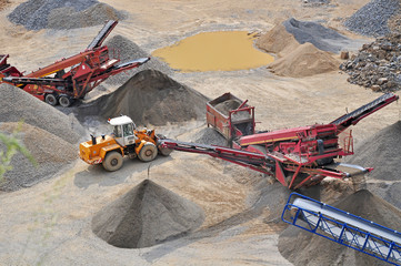 Machinery in stone quarry