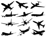 silhouettes of planes