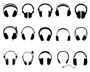 silhouettes of headphones 2-vector