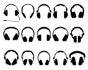 silhouettes of headphones-vector