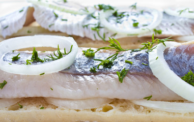 Sandwiches with herring, onions and herbs, closeup
