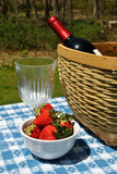 Picnic with Strawberries and Wine