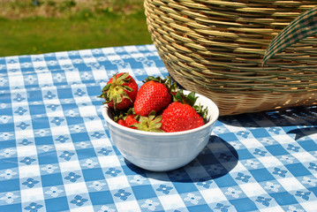 Strawberries and a Picnic Basket