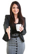 Happy business female holding coffee mug