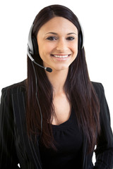 Happy beautiful hispanic business female telemarketer