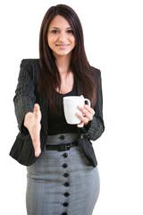 Happy business female holding coffee mug