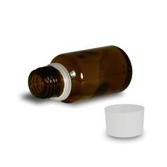 Bottiglietta di farmaco aperta