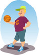 Smiling man standing with a basketball in his hands
