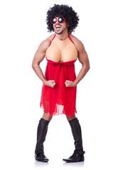 Man dressing in woman dress