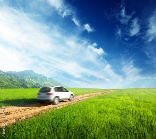 ground road and blurred car