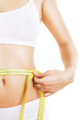 close-up photo of sporty woman body with tapemeasure