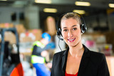 dispatcher using headset at warehouse of forwarding