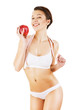 woman with white tapemeasure and red apple