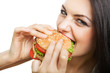cute girl biting hamburger