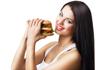 cute smiling girl holding hamburger