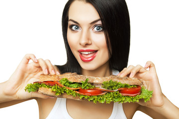 funny woman and long sandwich