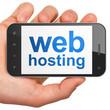 SEO web development concept: Web Hosting on smartphone