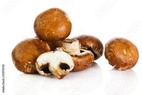 Fresh mushroom champignon isolated on white background .  fresh