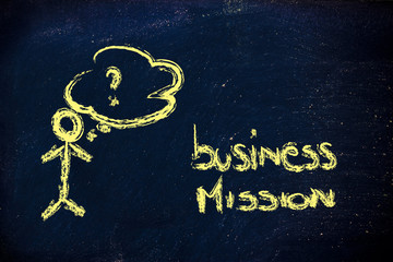 funny man looking confused about business mission/vision