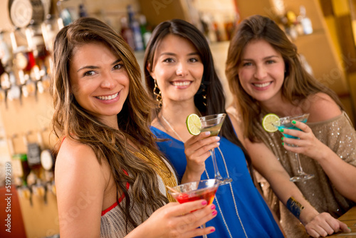 Gorup of girls having drinks