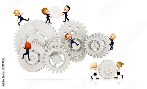 3D kids working as a team