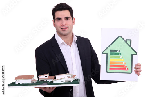Architect holding model housing and energy rating panel