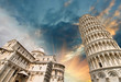 canvas print picture - Pisa, Tuscany. Wonderful wide angle view of Miracles Square