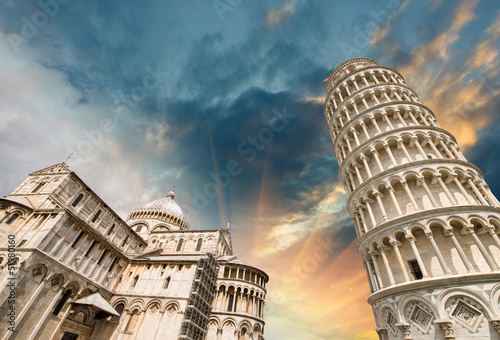 canvas print picture Pisa, Tuscany. Wonderful wide angle view of Miracles Square